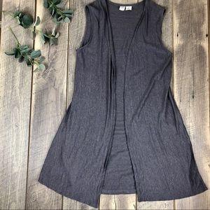 Artisan NY Gray Linen Sleeveless Open Cardigan M